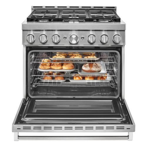 KitchenAid® 36'' Smart Commercial-Style Gas Range with 6 Burners - Heritage Stainless Steel