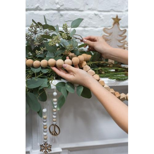 6ft Natural Wood Bead Garland (Round Option)