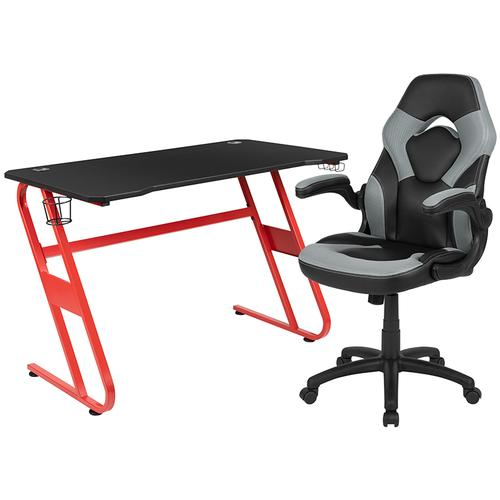 Gallery - Red Gaming Desk and Gray\/Black Racing Chair Set with Cup Holder and Headphone Hook
