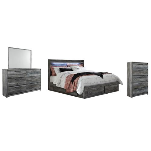 King Panel Bed With 6 Storage Drawers With Mirrored Dresser and Chest