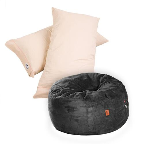 Pillow Pod Footstools - Plush Microsuede - Black