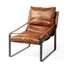 Hornet I Brown Leather Unibody Seat w/ Black Metal Frame Accent Chair