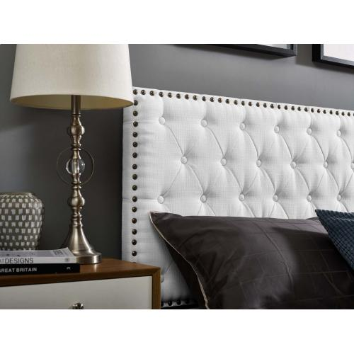 Helena Tufted Twin Upholstered Linen Fabric Headboard in White