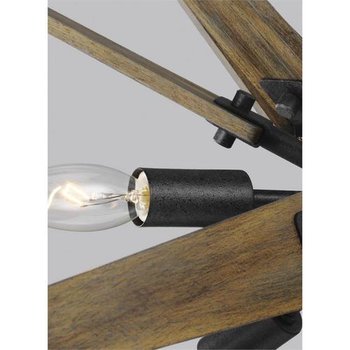 Thorne Medium Chandelier Dark Weathered Zinc / Weathered Oak