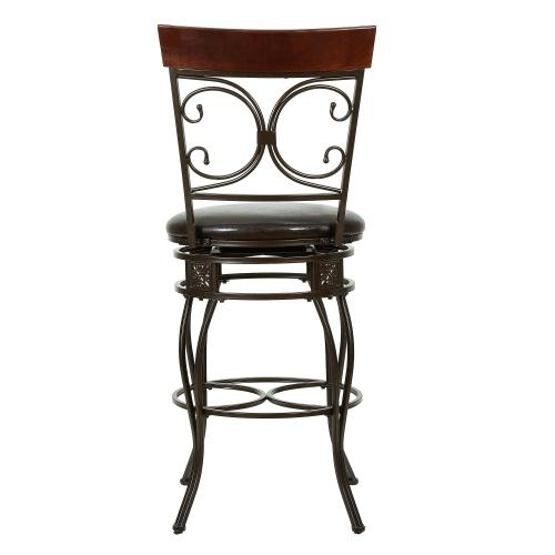 Upholstered Seat and Back Scroll Barstool, Dark Bronze and Dark Brown