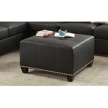 Kishan Cocktail Ottoman, Black-faux-leather