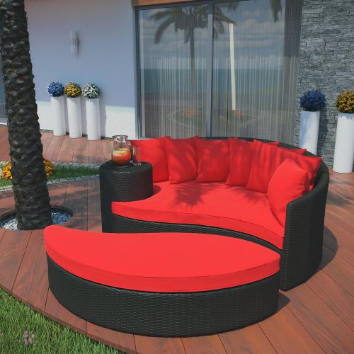 Taiji Outdoor Patio Wicker Daybed in Espresso Red
