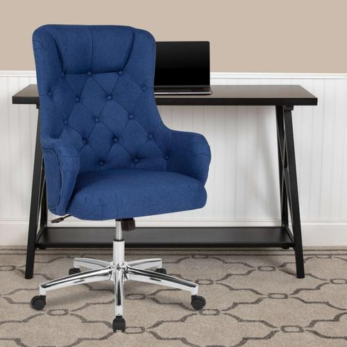 Gallery - Chambord Home and Office Upholstered High Back Chair in Blue Fabric