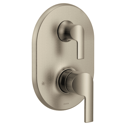 Doux brushed nickel m-core 3-series with integrated transfer valve trim