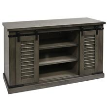 TAUPE GRAY  52in w X 32in ht X 19in d  Sliding Barn Door Pine Media Console with Removable Shelves