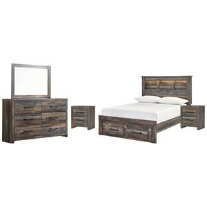 Full Bookcase Bed With 2 Storage Drawers With Mirrored Dresser and 2 Nightstands