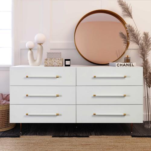 Trident White 6 Drawer Dresser