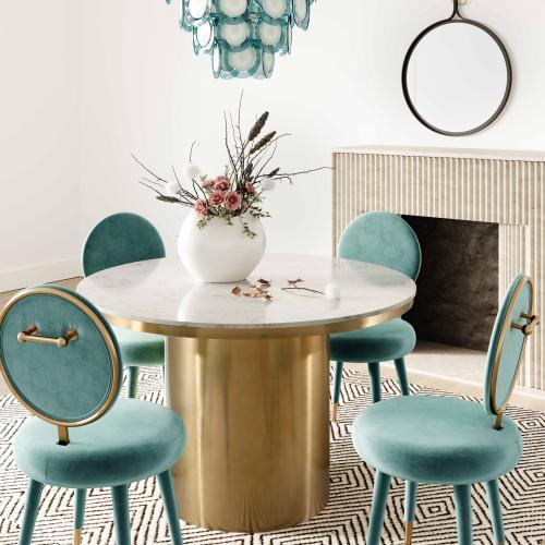 Tov Furniture - Kylie Sea Blue Velvet Dining Chair