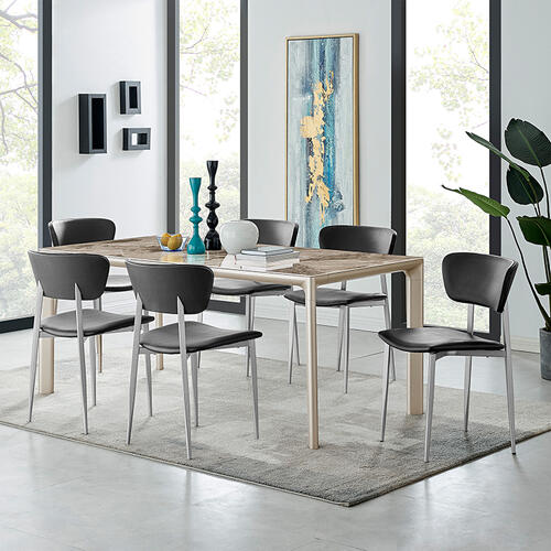 Otello Ceramic and Metal Rectangular Dining Room Table