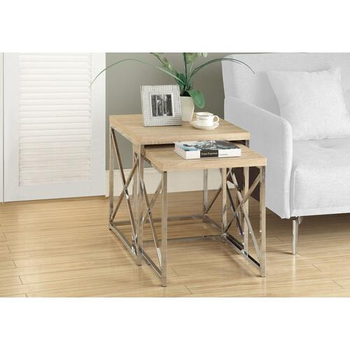 NESTING TABLE - 2PCS SET / NATURAL WITH CHROME METAL