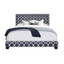 Marine Quatrefoil Upholstered King Bed with Double Nail Head Trim