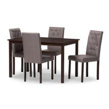 See Details - Baxton Studio Gardner Modern and Contemporary 5-Piece Dark Brown Finished Grey Fabric Upholstered Dining Set