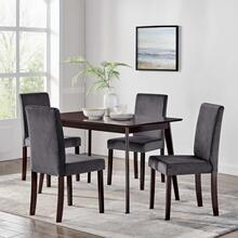 Prosper 5 Piece Upholstered Velvet Dining Set in Cappuccino Gray
