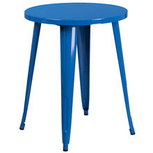 "Commercial Grade 24"" Round Blue Metal Indoor-Outdoor Table"