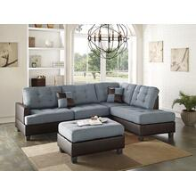 Gerhard 3pc Sectional Sofa Set, Grey