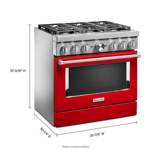 KitchenAid® 36'' Smart Commercial-Style Dual Fuel Range with 6 Burners - Passion Red