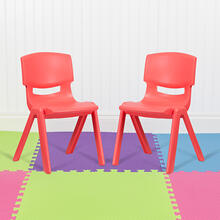 "2 Pack Red Plastic Stackable School Chair with 15.5"" Seat Height"