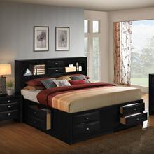Blemerey 110 Black Wood Storage QUEEN & KING Bed, Queen