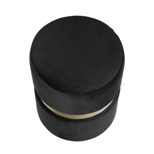 Velvet Ottoman W/ Gold Belt, Black