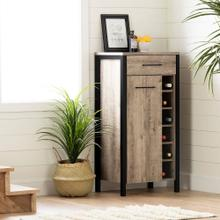 Small Bar Cabinet with Wine Bottle Storage - Weathered Oak and Matte Black