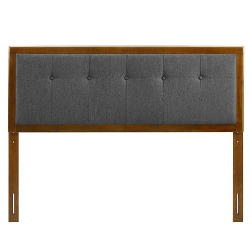 Draper Tufted King Fabric and Wood Headboard in Walnut Charcoal