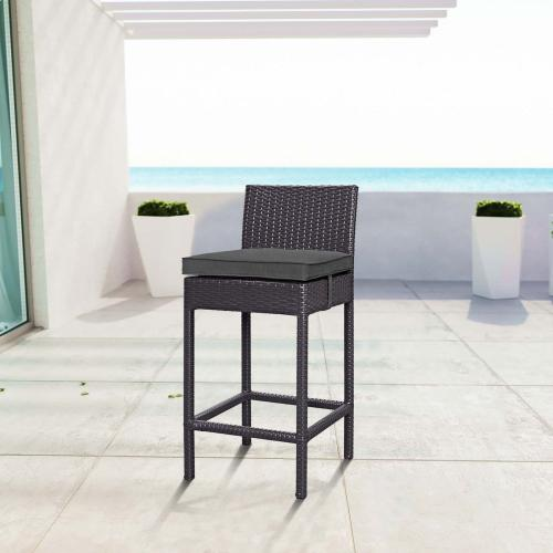 Convene Outdoor Patio Fabric Bar Stool in Espresso Charcoal