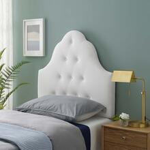 Sovereign Twin Diamond Tufted Performance Velvet Headboard in White