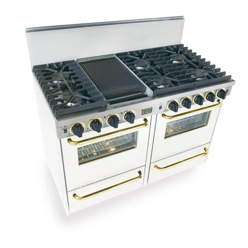 """Five Star - 48"""" All Gas, Convection, Sealed Burners, White with Brass"""