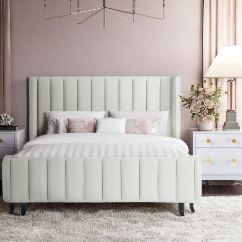 Product Image - Waverly Cream Velvet Bed in King