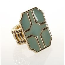 BTQ Teal and Gold Graphic Stretch Ring