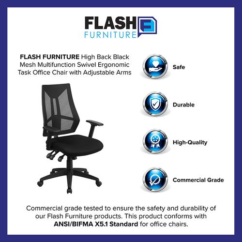 Flash Furniture - High Back Black Mesh Multifunction Swivel Ergonomic Task Office Chair with Adjustable Arms