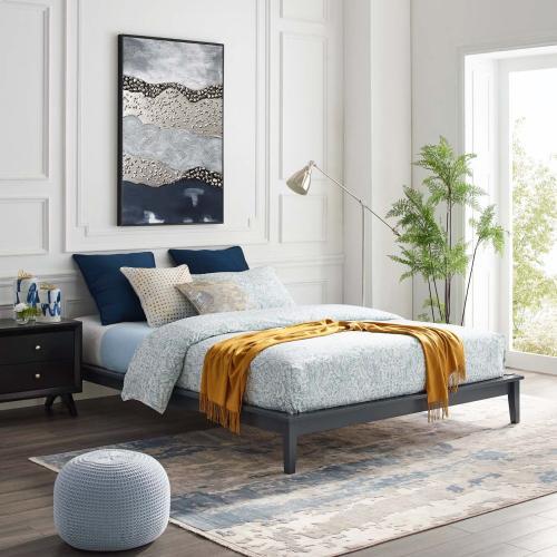 Lodge Full Wood Platform Bed Frame in Gray