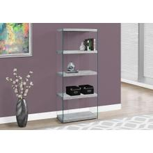 """BOOKCASE - 60""""H / GREY CEMENT WITH TEMPERED GLASS"""