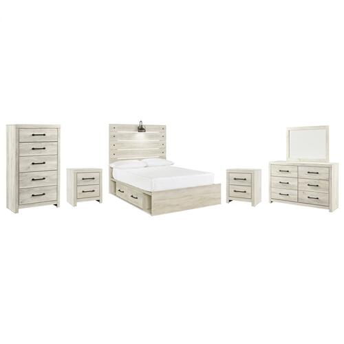 Full Panel Bed With 4 Storage Drawers With Mirrored Dresser, Chest and 2 Nightstands