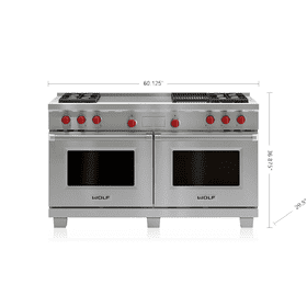 "Legacy Model - 60"" Dual Fuel Range - 4 Burners, Infrared Charbroiler and French Top"