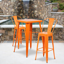 "Commercial Grade 23.75"" Square Orange Metal Indoor-Outdoor Bar Table Set with 2 Stools with Backs"