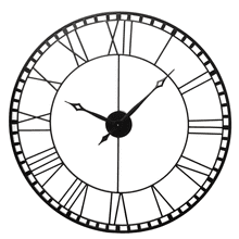 See Details - Black Open Face Roman Numeral Wall Clock