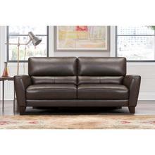 "See Details - Kester 81"" Square Arm Espresso Genuine Leather Sofa"