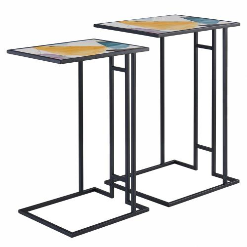 Nantes Pattern C-Shape End Table Set of 2, Abstract Art