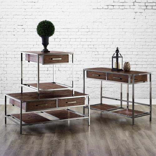 Modern Industrial-Style Wood and Metal Sofa Table