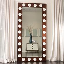 Domino Floor Mirror-Walnut/Ivory