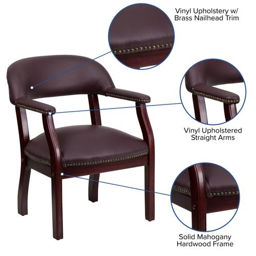 Gallery - Burgundy LeatherSoft Conference Chair with Accent Nail Trim