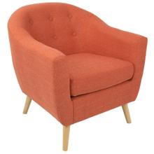 Rockwell Accent Chair - Natural Wood, Dark Orange Fabric