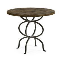Dark Driftwood Bistro Style Panelled Round Centre Table