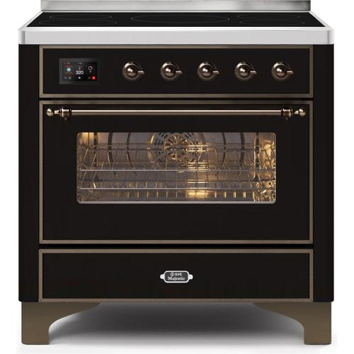 Majestic II 36 Inch Electric Freestanding Range in Glossy Black with Bronze Trim